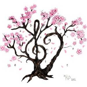 cherry_blossom_music_tattoo_by_girfreak8-d3a7yqk